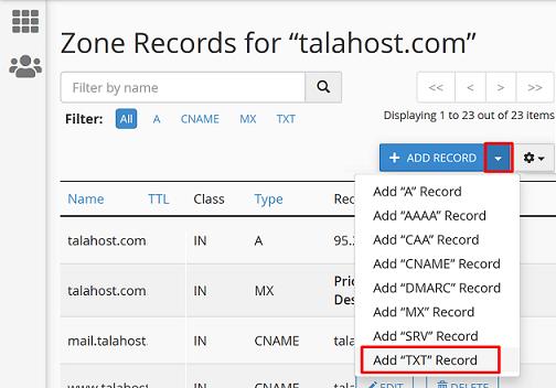 add txt record - cpanel