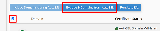 exclude domains from autossl
